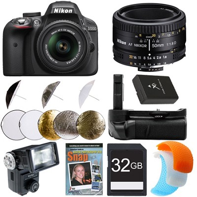 D3300 DSLR HD Black Digital Camera Portrait Photographer Bundle