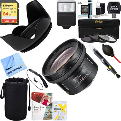 SAL20F28 - 20mm f2.8 Wide-Angle A-Mount Lens + 64GB Ultimate Kit