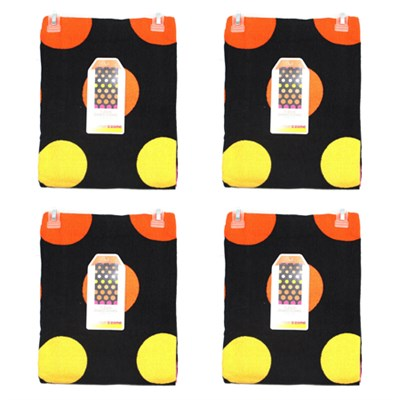4-Pack of Warm Dot Beach Towel, Orange and Black