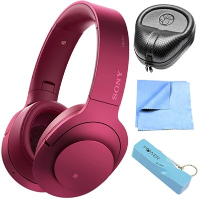 Wireless NC On-Ear Bluetooth Headphone w/ NFC Bordeaux Pink w/ Power Bank Bundle