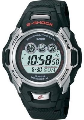 GW500A-1V - Men's G-Shock Atomic Tough Solar  Black Resin, Silver Bezel