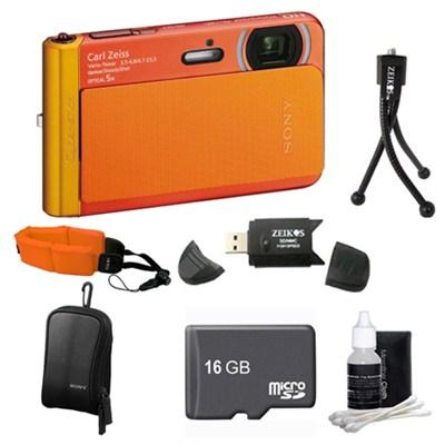 DSC-TX30/B Orange Digital Camera 16GB Bundle