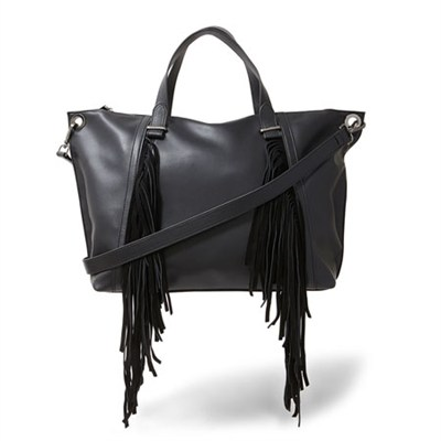 Lucyy Fringe Tote Bag in Black