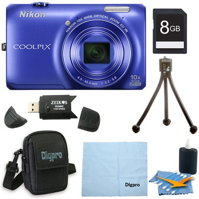 COOLPIX S6300 16MP 10x Opt Zoom 2.7 LCD Digital Camera 8GB Blue Bundle