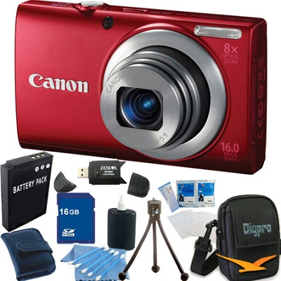 PowerShot A4000 IS 16MP Red Digital Camera 16GB Bundle