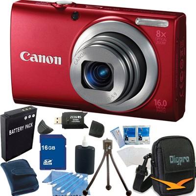 PowerShot A4000 IS 16MP Red Digital Camera 16GB Bundle