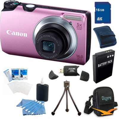 PowerShot A3300 IS 16MP Pink Digital Camera 16GB Bundle