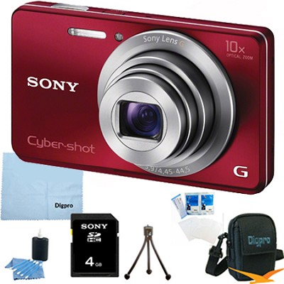 Cyber-shot DSC-W690 16MP 10X Zoom 720p Video Digital Camera (Red) 4GB Bundle
