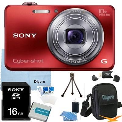 Cyber-shot DSC-WX150 18.2 MP 10x Optical HD Video Camera (Red) 16GB Bundle