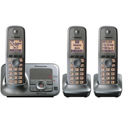 KX-TG4133M DECT 6.0 PLUS Expandable Digital Cordless Answering 3 Handset System