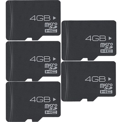 5-Pack 4GB High-Speed MicroSD Memory Card & Adapter (20GB Total)