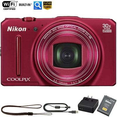 COOLPIX S9700 16MP HD 1080p 30x Zoom Digital Camera Red - (Refurbished)
