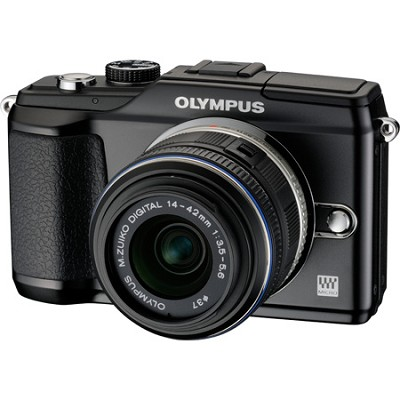 PEN E-PL2 12.3 MP 3-inch LCD Digital SLR Camera  With 14-42 Lens Kit- Black