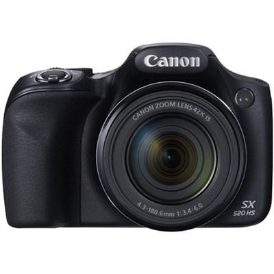 SX520 HS 16MP 42x Opt Zoom 1080p Full HD Digital Camera - Black OPEN BOX