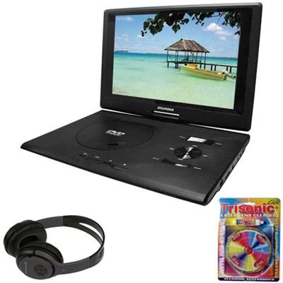 13.3` Port. DVD Player w/ USB/SD Card Reader Black w/ Headphones Bundle