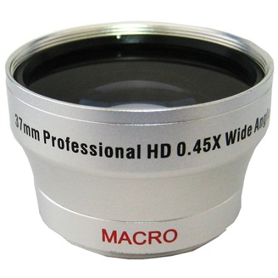 Professional .45X Wide Angle Lens w/ Macro - for 37mm threading (silver)