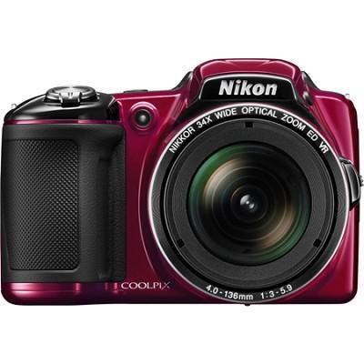 COOLPIX L830 16MP 34x Opt Zoom Digital Camera - Red