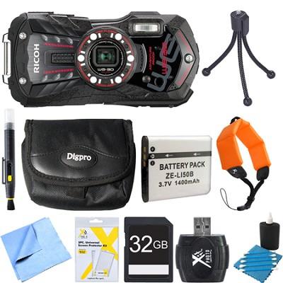 WG-30 16 MP Waterproof Digital Camera with 3-Inch LCD Ebony Black 32GB Bundle