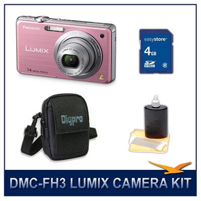 DMC-FH3P LUMIX 14.1 MP Digital Camera (Pink), 4GB SD Card, and Camera Case