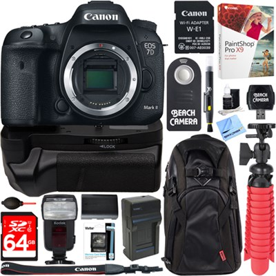 EOS 7D Mark II 20.2MP DSLR Camera with Wi-Fi Adapter + 64GB Battery Grip Bundle