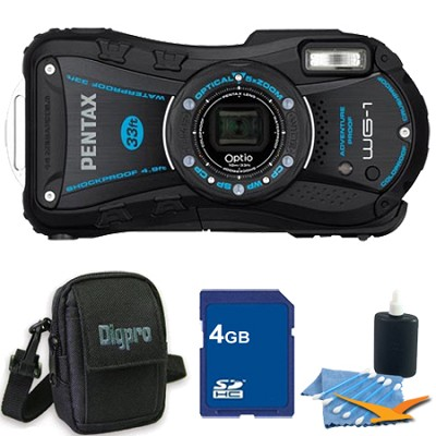 Optio WG-1 Waterproof Digital Camera - Black 4 GB Bundle