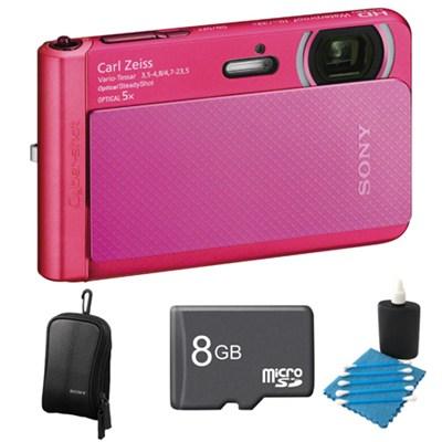DSC-TX30/B Pink Digital Camera 8GB Bundle