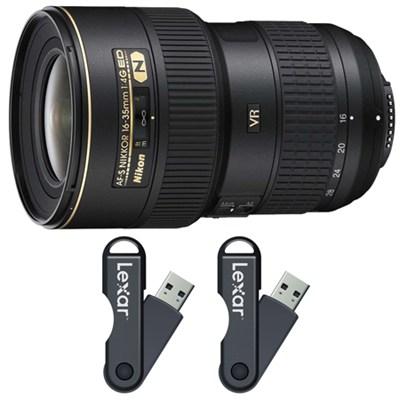 16-35mm f/4G ED-VR AF-S Wide-Angle Zoom Lens 64GB USB Flash Drive 2-Pack Bundle
