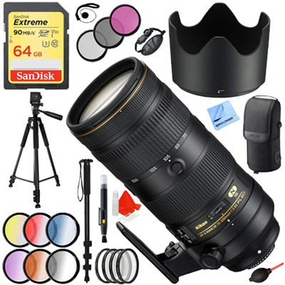 AF-S NIKKOR 70-200mm f/2.8E FL ED VR Zoom Lens (20063) with 77mm Filter Sets Kit
