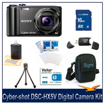 Cyber-shot DSC-HX5V 10.2 MP Digital Camera, 16GB Card, Spare Batt, Case & More