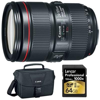 EF 24-105mm f/4L IS II USM Standard Zoom Lens & 64GB Memory Card Bundle