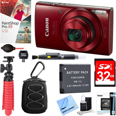 PowerShot ELPH 190 IS Digital Camera (Red)+ 32GB Deluxe Accessory Bundle