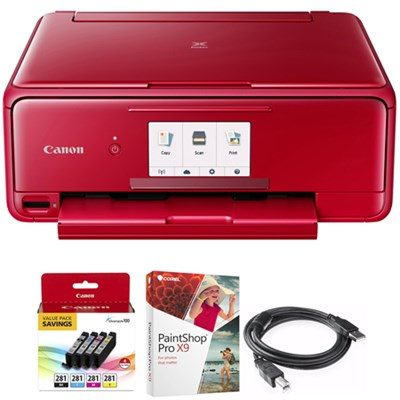 PIXMA TS8120 Wireless Inkjet All-in-One Printer Red + Paint Shop Bundle