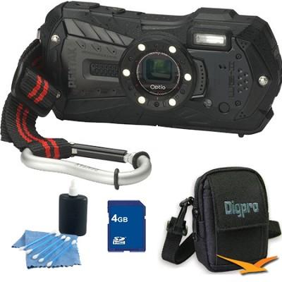 Optio WG-2 Waterproof Digital Camera - Black 4GB Bundle