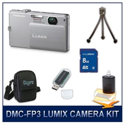 DMC-FP3S LUMIX 14.1 MP Digital Camera (Silver), 8GB SD Card, and Camera Case