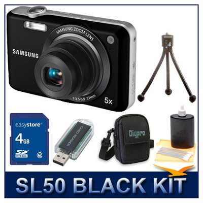 SL50 Digital Camera Black w/ Memory Card, Card Reader, Case, Mini Tripod