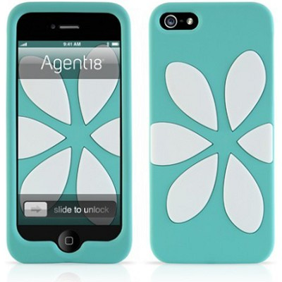 FlowerVest Silicone Case for iPhone 5 - Turqoise/White