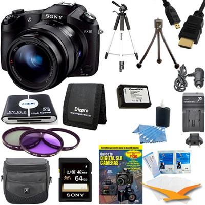 Cyber-shot DSC-RX10 Digital Camera 64 GB SDXC Card, Battery, and Tripod Bundle