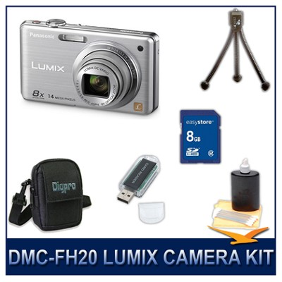 DMC-FH20S LUMIX 14.1 MP Digital Camera (Silver), 8GB SD Card, and Camera Case