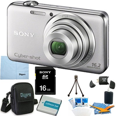 DSC-WX50 - 16.2MP CMOS Camera 5X Zoom 2.7` LCD (Silver) 16GB Bundle