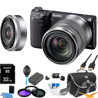 NEX-5RK/B Compact Camera with 18-55 Lens (Black) with 16mm f 2.8 Lens