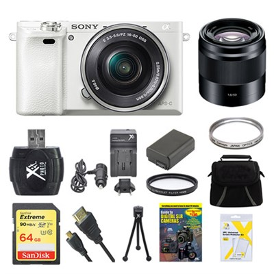 Alpha a6000 White Camera with 16-50mm and 50mm Lenses 64GB Bundle