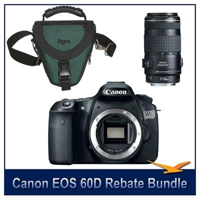 EOS 60D SLR Digital Camera w/ 70-300mm Lens and Case Bundle