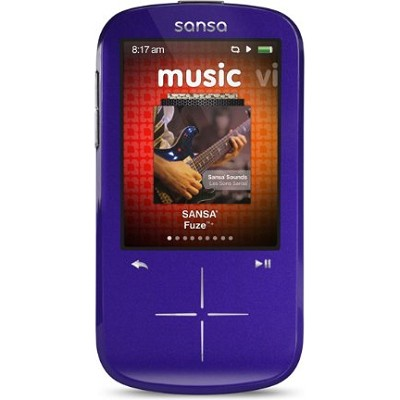 Sansa Fuze+ 8GB Purple MP3 MP4 Video Music Player w/ FM Radio