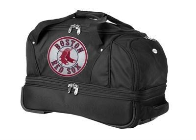 MLB 22-Inch Drop Bottom Rolling Duffel Luggage, Black - Boston Red Sox
