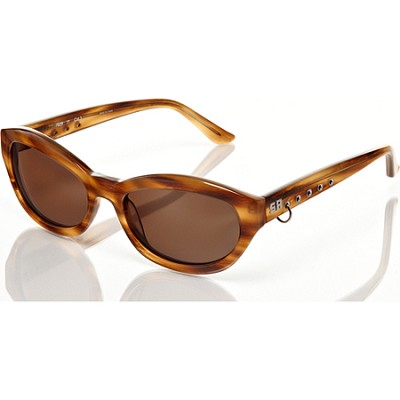 Horn-Brown Sunglasses, Brown Lens With Stud Accent