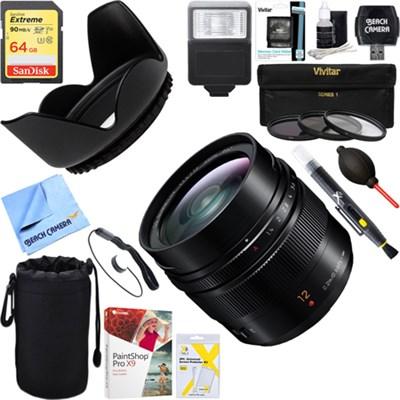 H-X012 12mm F1.4 LUMIX G Leica DG Mirrorless Lens + 64GB Ultimate Kit