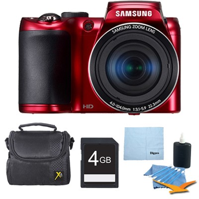 WB100 16MP 26x Optical Zoom Red Digital Camera Plus 4GB Memory Bundle