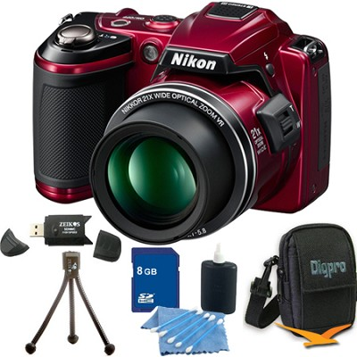 COOLPIX L120 Red Digital Camera 8GB Bundle
