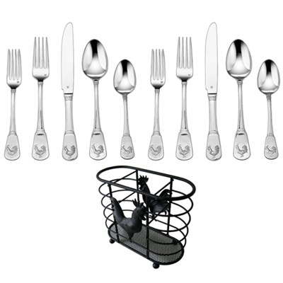 20 Pcs Flatware Set French Rooster Service for Eight w/ Cutlery Holder