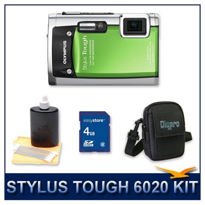 Stylus Tough 6020 Waterproof Shockproof Digital Camera (Green) w/ 4 GB Memory